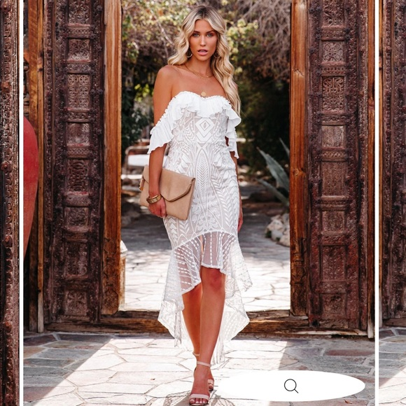 Passion lace off the shoulder high low midi dress